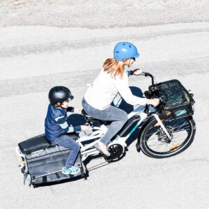 Yuba Cargo Bikes Spicy Curry White Mom and kid top